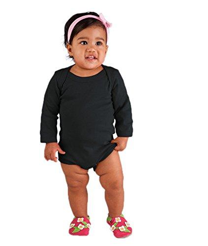 Rabbit Skins Infant Baby Rib Lap Shoulder Long Sleeve Bodysuit (Black) (12)