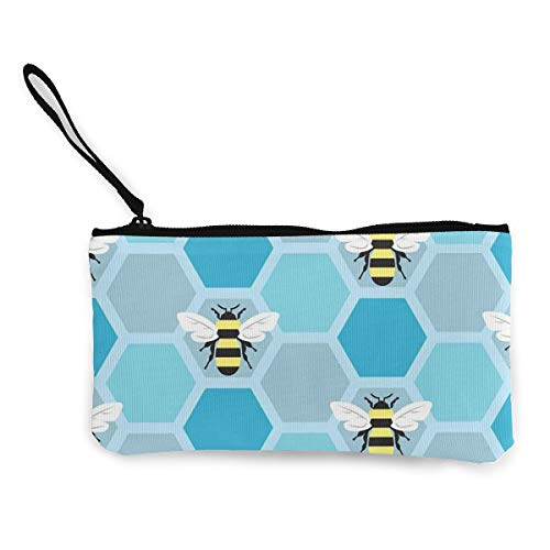 Terany Canvas Pencil Case - Bumble Bee Durable Cosmetic Makeup Bag Zipper Closure Coin Purse Wallet Phone Pouch with Handle for Kids Adults -