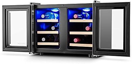 Klarstein Reserva Saloon - Vinoteca, Nevera para vinos, Enfriador con 6 estantes, 40L, 12 Botellas, Regulable: 8 a 18°C, Luz interior LED, Baja contaminación acústica, Altura regulable, Gris