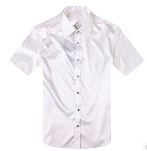 Pure Silk Shirt (MLT Men's Dress Silk Satin Slim Fit Groom Short Sleeve Shirts (3XL, White))