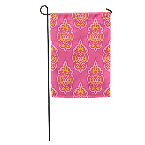 Semtomn Garden Flag Pink Abstract Cute Floral Damask Pattern Elegant Luxury Baroque Carpet Home Yard House Decor Barnner Outdoor Stand 12x18 Inches Flag