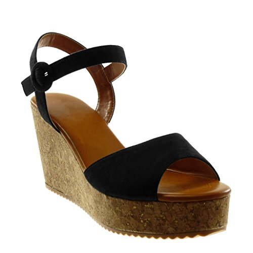 Sandalias Hebilla Plataforma Tanga Plataforma Zapatillas Correa Corcho Tobillo Negro cm 8 de Angkorly 5 Mules Moda Mujer REPWwx71