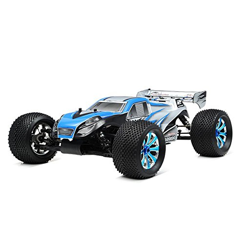 Exceed RC 1/8Th EP Mad Warrior Racing Edition Truggy Ready to Run RTR Brushless Motor/ESC/Lipo (Alpha Blue)