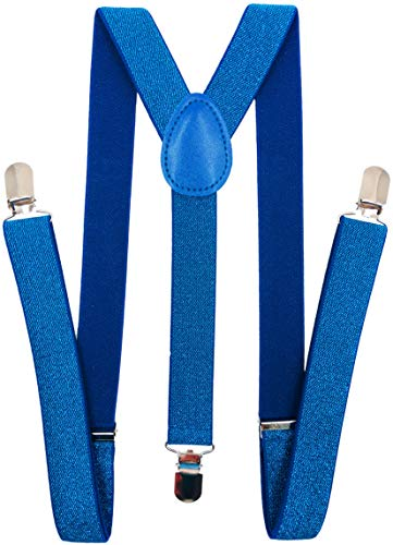 CD Solid Color Suspenders Y-Back   Adjustable and Elastic   (Royal Blue Sequined) -