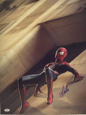 STAN LEE HAND SIGNED OVERSIZED 16x20 COLOR PHOTO PSA COA SPIDERMAN