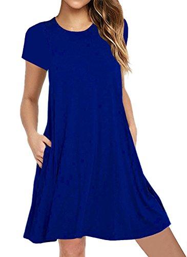 IVVIC Short Sleeve Dress for Women Pocket Design Casual Loose T-Shirt Dress (Blue2 S)
