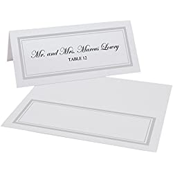 Documents and Designs Double Line Border Easy Print Place Cards (Select Color/Quantity), Pearl White, Silver, Set of 150 (25 Sheets)