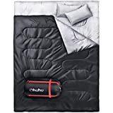 Ohuhu Double Sleeping Bag with 2 Camping Pillows, Waterproof Lightweight 2 Person Adults Sleeping Bag for Camping, Backpacking, Hiking, Bonus Carrying Bag