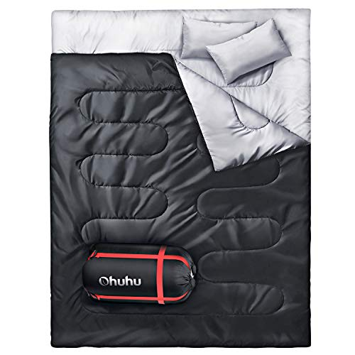 - Ohuhu Double Sleeping Bag with 2 Pillows, Waterproof Lightweight 2 Person Adults Sleeping Bag for Camping, Backpacking, Hiking, Bonus Carrying Bag, Black
