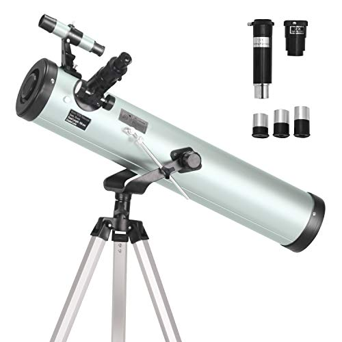 (ToyerBee Telescope 76mm Aperture 700MM, with 3 Eyepieces H20mm H12.5mm H4mm&Tripod&Finder Scope&Moon Mirror, 70X-350X Magnification- Reflector Telescope for Kids& Students&Adults&Astronomy Beginners)