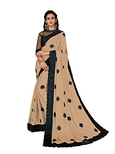 MANOHARI Women's Beige Georgette Embroidered Saree with Blouse