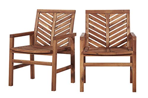 Priya Home Furniture Outdoor Transitional Patio Wood Chairs, Set of 2 - ()