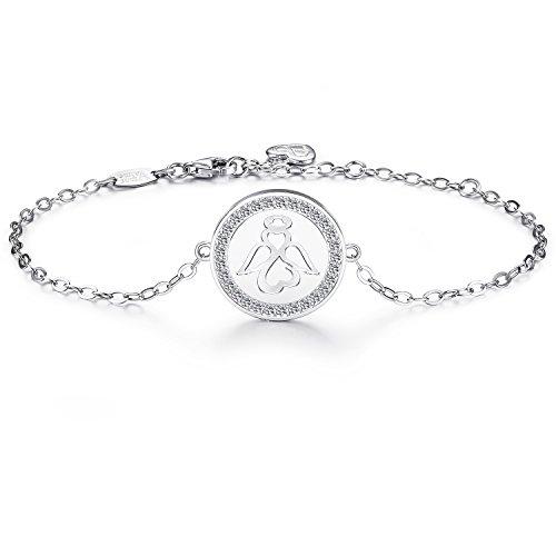 AmorAime 925 Sterling Silver Sweet Guardian Angel Blessing Bracelet Charm Adjustable Bracelet for Women Mother's Day Gift from AmorAime