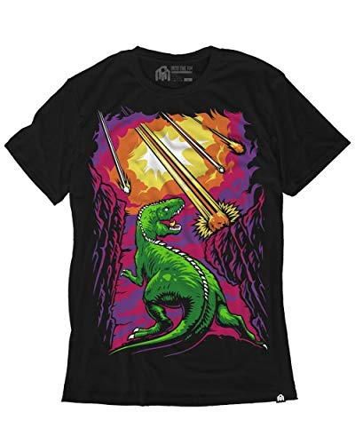 INTO THE AM Extinction Men's Graphic Tee Shirt (Black, - Tee Graphic Dinosaur