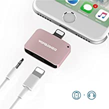 2-in-1 Lightning Adapter for iPhone 7/7 Plus,Lightning to 3.5mm Headphone Jack Adapter Cable Splitter Compatible for iOS 10.3, Charging and Listening at the Same Time (pink)