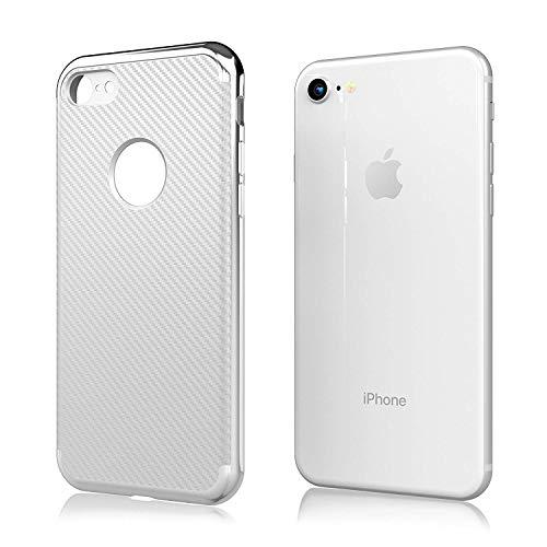 iPhone 7 Case | iPhone 8 Case | Premium Luxury Slim Design Cell Phone Case for iPhone 7/iPhone 8 - - Silver Carbon Design Fiber