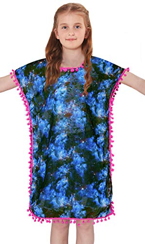BFUSTYLE Big Girls Chiffon Bikini Cover Up Fall Daily Bohemian Lightweight 1-Piece Blue Purple Swimsuit Simple Pom Pom Sun Protection Galaxy Speace Star Pullover Clothes,Size ()