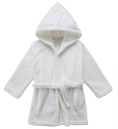 Yanzi6 Unisex-baby Winter Soft Soft Coral Fleece Flush Hooded Bath Robe (12-18 Months,White),Medium ()
