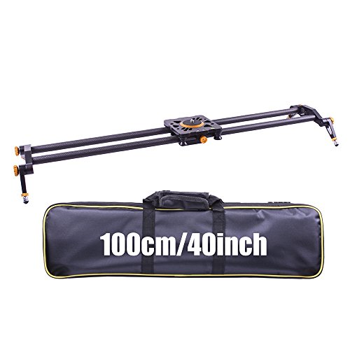 DIGITALFOTO 100cm Carbon Fiber Camera Slider Video Dolly Track 10kg Weight Bear Head and Tripod not included by DF DIGITALFOTO