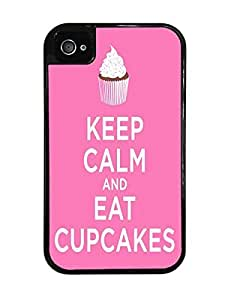 Keep Calm and Eat Cupcakes Black 2-in-1 Protective Case with Silicone Insert for Apple iPhone 4 / 4S by ruishername