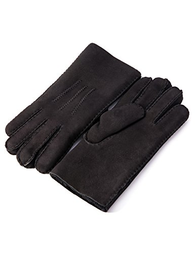 YISEVEN Men's Merino Rugged Sheepskin Shearling Leather Gloves Mittens Sherpa Fur Long Cuff Thick Wool Lined and Heated Warm for Winter Cold Weather Dress Driving Work Xmas Gifts, Black Small