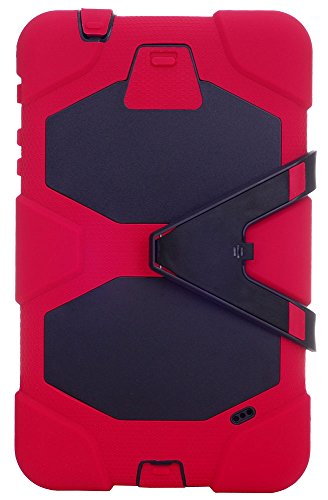 """Huaxia Datacom Heavy Duty Armor Rugged Hybrid Kickstand Protective Cover Case w/ Built-in Screen Protector for Samsung Galaxy Tab 4 8.0"""" / 8-inch (SM-T330/T331/T335)- Red/Black"""