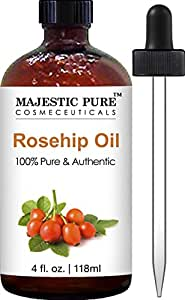 Majestic Pure Rosehip Oil for Face, Nails, Hair and Skin, Pure & Natural, Cold Pressed Premium Rose Hip Seed Oil, 4 oz