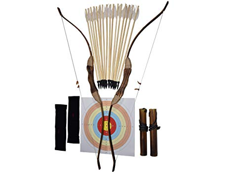 FSFF Enhanced Wooden Bow and Arrow for Kids 2-Bows 2-Four Arrow quivers 16-Arrows w/ Feathers 10-Large Targets & 2-armguards Great Archery Set for Youth boy / Girl Beginner Archery Set -