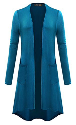 (KAY SINN Womens Open Front Casual Cardigan with Pockets XX-Large Teal Blue)