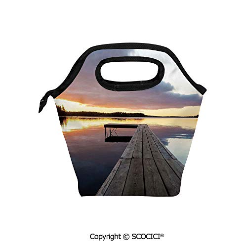 Printed Pattern Portable Lunch Tote Bag Serenity Relaxing Themed Port Pier Wooden Rustic Image of Dawn Sunset in Lake Art insulation cold outdoor picnic lunch box bag.