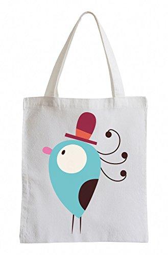 Raxxpurl Uccello blu con il cappello Fun sacchetto di iuta