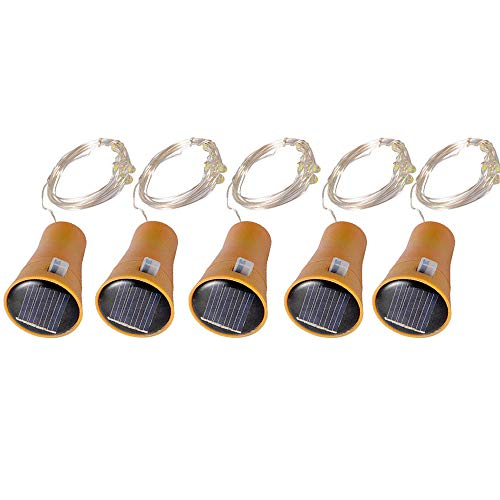 (Coohole 15 LED Solar Bottle Cork String Lights Wine Bottle Fairy Mini String Lights Copper Wire, Battery Operated Starry Lights for DIY Christmas Halloween Wedding Party,5 Pack (Yellow))