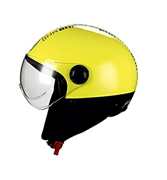 BHR- Casco para moto demi-jet línea One 801, amarillo fluorescente,