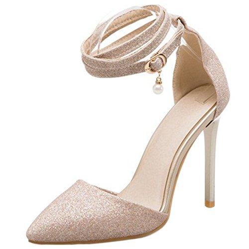 à Gold Talon Lacets Aiguille Chaussures Briller Sandales TAOFFEN 9 Femmes XnwqpTOU