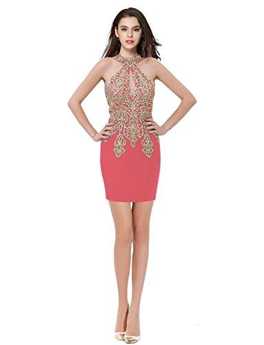 Kleider Kurz Damen Koralle Izanoy Perlen Hals Meerjungfrau Formale Halfter Ballkleider wx4BB1p60q