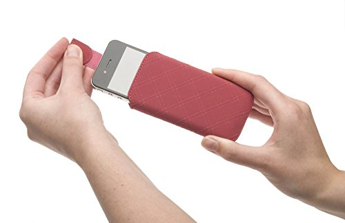KSIX B9000FU73TUIMG Tux Diamond Pouch Handytasche für Apple iPhone 4/4S Große L rosa/pink