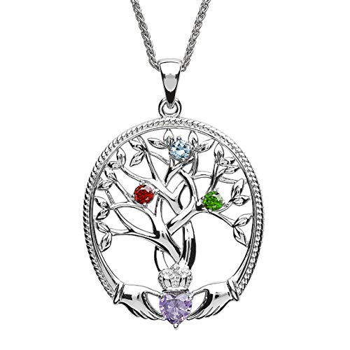 (Customizable Irish Family Claddagh Tree of Life Birthstone Mother and 3 Children Pendant with Chain SP2247-3 )