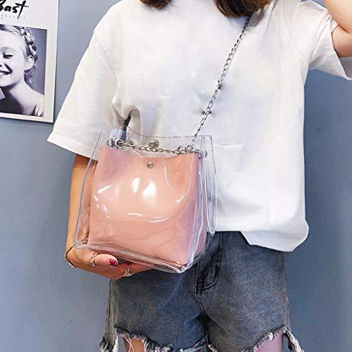 Transparent Ihaza De Chaîne Compound Mini Tote Sac Femme Rose Seau Pour w1E1r