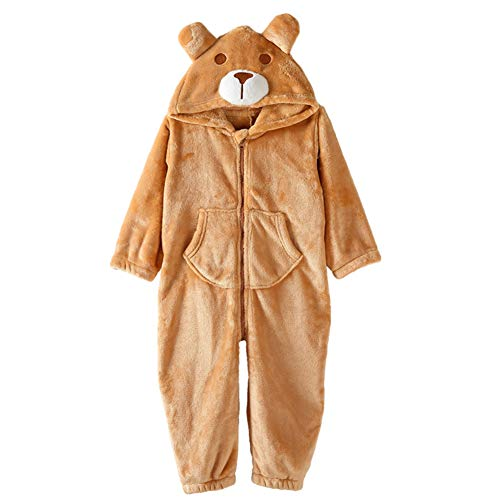 BZWZH Kids Cute Cartoon Fox Sleepsuit Jumpsuit Hooded Playsuit Animal Pajamas Halloween Cosplay Costume Soft and Comfortable,Brown,L -