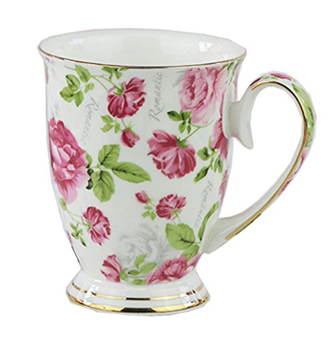 FlorisHome Fine Bone China Romantic Rose Coffee Mug Tea Cup 11 oz 330 ml