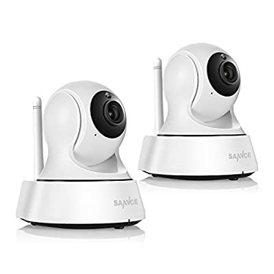 SANNCE Wifi Wireless IP Camera for Home Security Surveillance System - 2 Pack HD Night Vision Remote Access Motion Detection