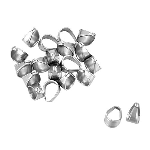 Housweety 20PCs Silver Tone Stainless Steel Pinch Clips Bail Connectors Findings 11mmx9mm