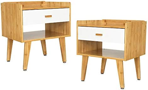 ARTETHYS Bamboo End Table Set of 2 Nightstand