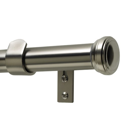 Kenney Fluted End Cap 1 Premium Decorative Window Curtain Rod Satin Nickel 36 66