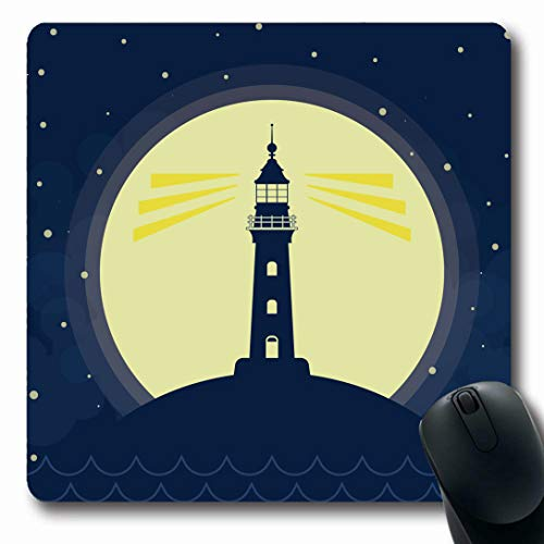 Ahawoso Mousepads for Computers Beach Lighthouse Full Moon Vawes Stars Lamp Flat Goa Graphic Guide Holiday Design Seaside Oblong Shape 7.9 x 9.5 Inches Non-Slip Oblong Gaming Mouse ()