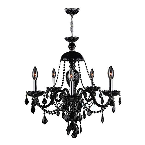 (Brilliance Lighting and Chandeliers Venetian Italian Style 12 Light Chrome Finish and Black Crystal Chandelier Large 28