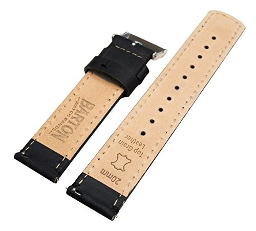 Barton Quick Release Top Grain Leather Watch Band Strap - Choose Color - 16mm, 18mm, 20mm, 22mm or 24mm - Black/Black 16mm by Barton Watch Bands (Image #3)