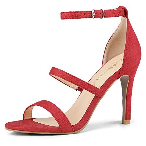 Allegra K Women's Open Toe Triple Straps Stiletto High Heel Red Sandals - 5 M - Heel Stiletto High 5 3/4 Inch