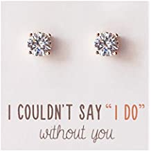 Bridesmaid Stud Earrings- 7 MM Cubic Zirconia in Silver, Gold or Rose Gold