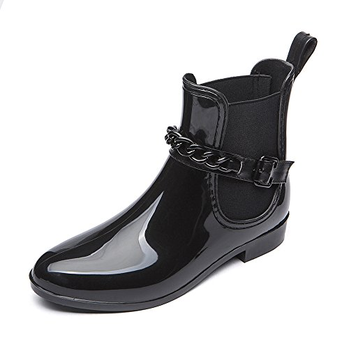 DKSUKO Ladies Wellingtons Boots Gloss Anti-Slip Ankle Chelsea Boots Adjustable Rubber Rain Boots for Women Size UK 4-7 Type 2 j91Ppc